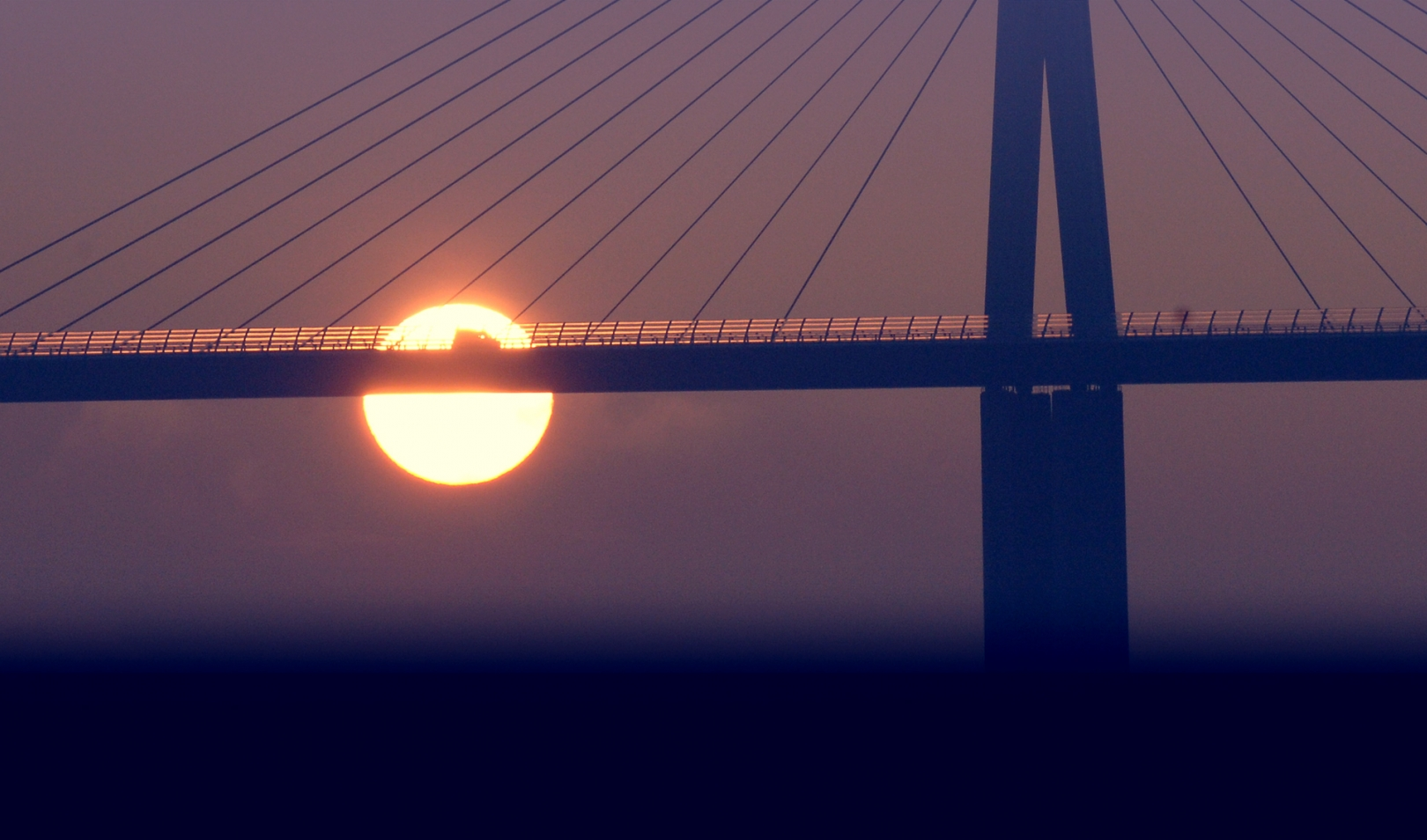 The Millau Viaduct at sunset