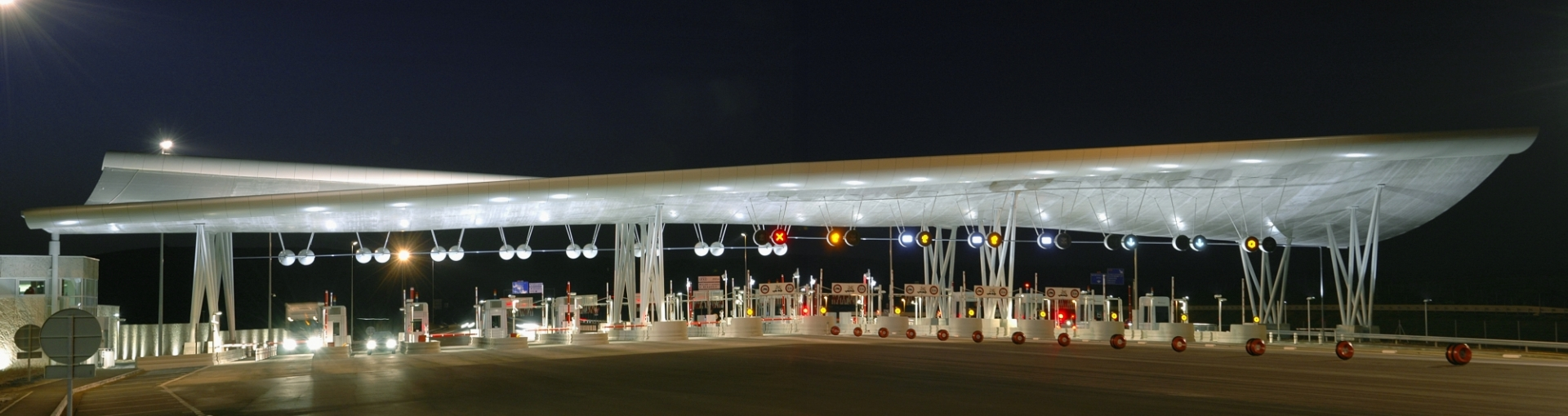 Toll gate by night