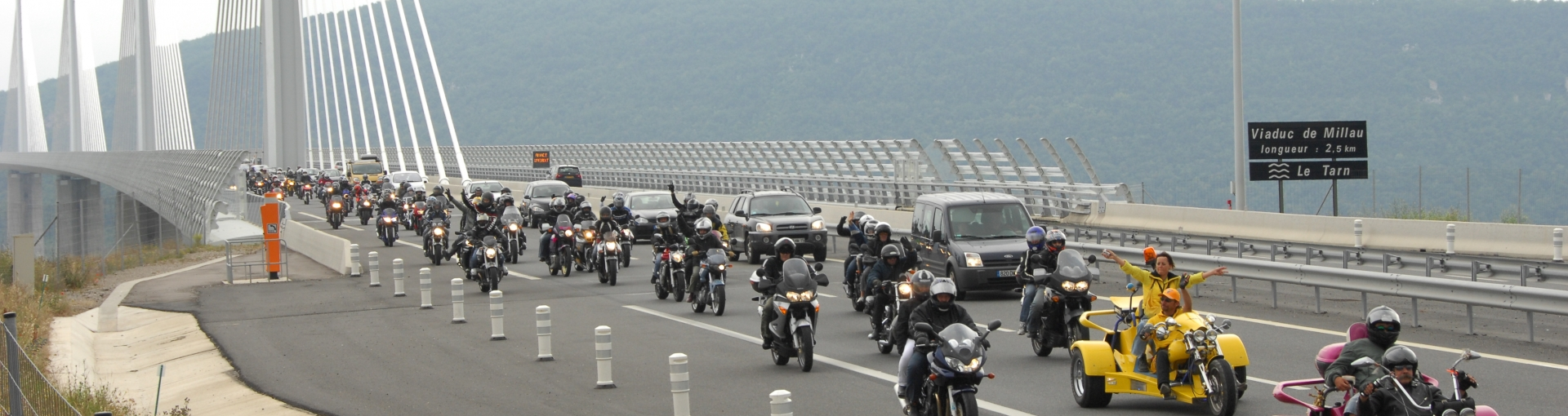 Bikers on the Millau Viaduct