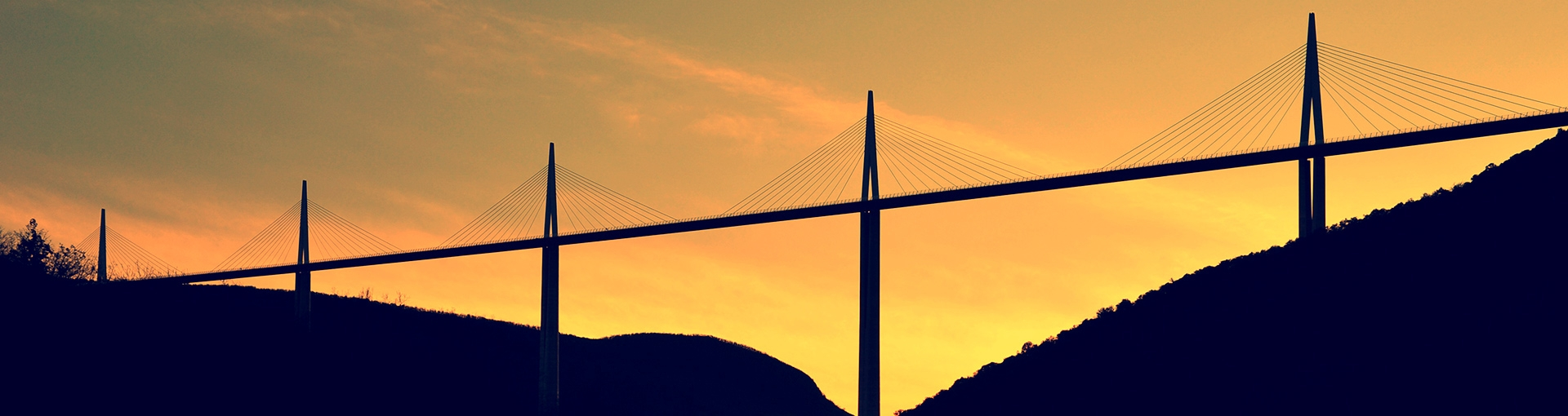 Millau Viaduct at dusk